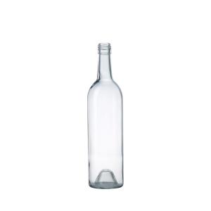 Custom blue 750ml glass wine bottle cork top vodka liquor bottle