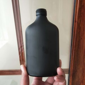 Matt black flat coffee brew glass bottle