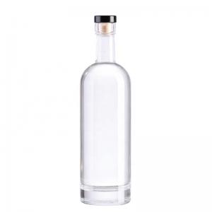 Clear round flint Vodka liquor glass bottle with cork