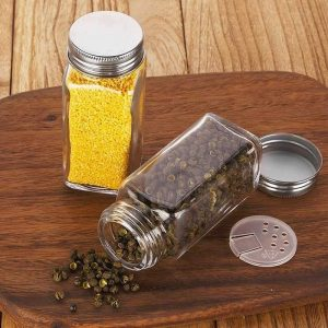 4oz square spice glass jar plastic cap