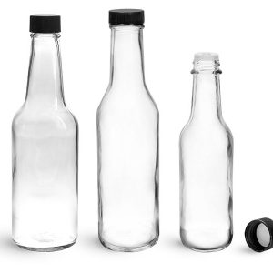 Clear 5oz 12oz hot sauce glass bottle with plastic caps