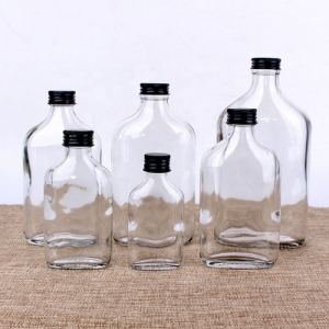 350ml and 500ml flat coffee glass bottle with screwed caps for vodka and cold brew coffee