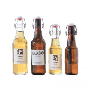 330ml and 500ml clear or amber beer swing top glass bottle