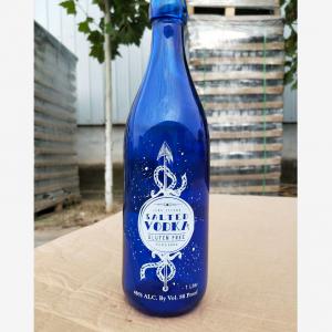 Custom print blue colored 1 liter swing top glass bottle