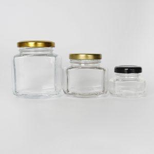 Flat hexagonal glass jar custom shape glass jar
