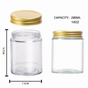 10oz straight sided glass storage jars