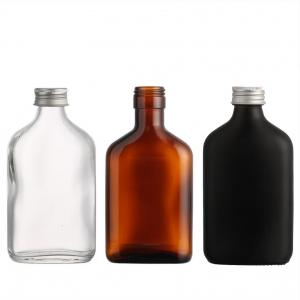 Amber flat glass vodka bottle flask black bottle for coffee