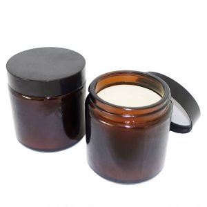 Straight side 4oz amber glass candle holder jars