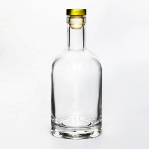 Flask round 200ml 375ml hot sauce glass bottle with cork