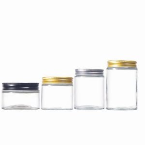 Cylinder round glass cosmetic jars