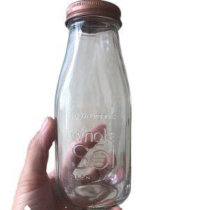 12oz custom milk glass bottle with embossed logo