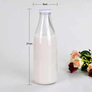 1000ml round traditional milk glass bottle with custom label