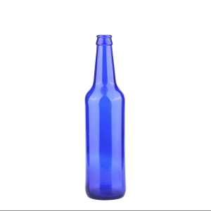 500ml blue beer glass bottle with crown cap