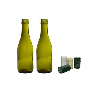 Amazon hotsale green 187ml wine champagne glass bottle custom label