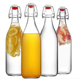 Round 500ml 750ml water glass swing top bottle