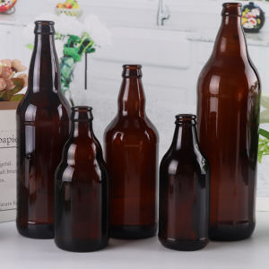 Amber beer glass bottle with crown cap