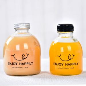 Round empty 500ml 16oz juice glass milk tea bottle