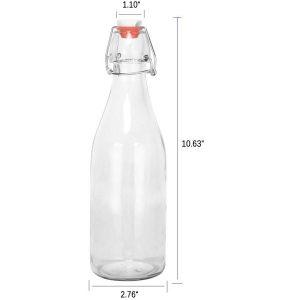 Clear swing top glass water juice bottle grolsch flip top bottle