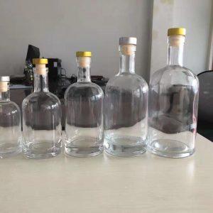 500ml round Vodka glass bottle with cork spirit bottle