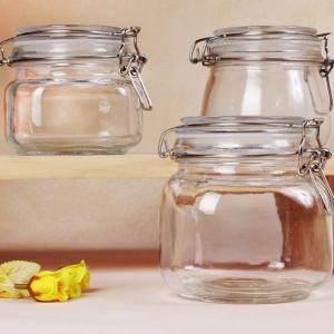 Airtight glass seal 250ml square storage glass jar clip top