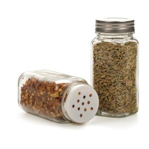 Square 4oz Salt Pepper Glass Jars Spice Shaker with Metal Lids Custom Label Sticker