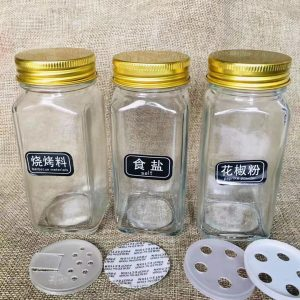 Cheap 4oz spice glass jar pepper salt glass shaker custom label sticker