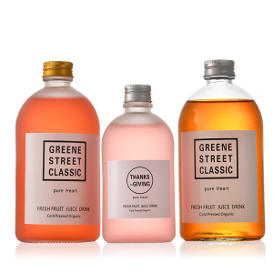 Frosted clear 300ml 10oz juice glass bottle with metal caps
