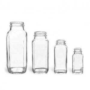 Square glass juice beverage bottles 2oz 4oz 6oz 8oz 10oz 12oz 16oz