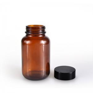 Amber 120ml pill glass bottle amber tablet bottle with black cap