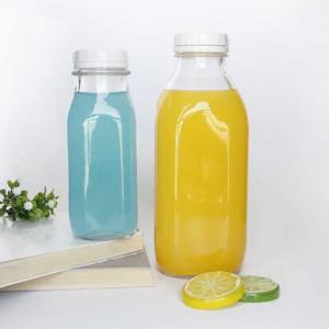 Square juice glass bottle 250ml 300ml with plastic tamper evident cap