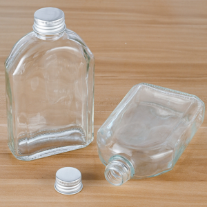 Black 500ml flask glass bottle with metal cap