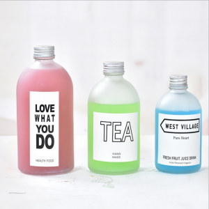 Round frosted glass bottles for juice 150ml 270ml 350ml 500ml