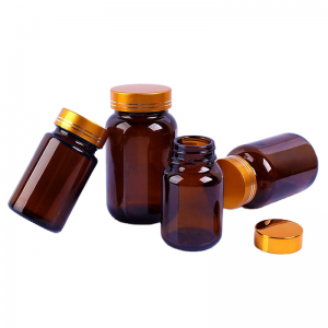 Amber wide mouth 60ml 100ml capsule glass bottle amber pill bottle