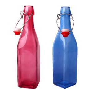 Blue square 250ml 500ml 1000ml siwng top glass bottle wholesale