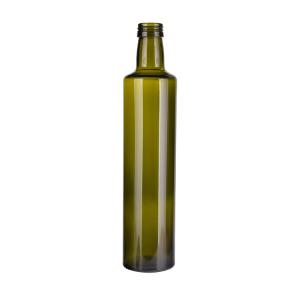 Antique green 500ml round olive oil glass bottles