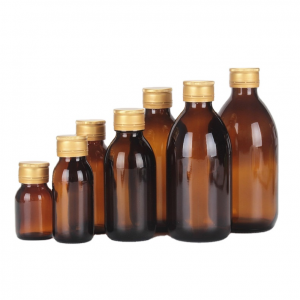 Empty amber glass syrup bottle