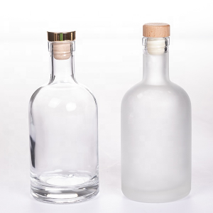 Clear frosted 375ml Olso glass vodka bottle with cork