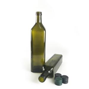 500ml green square glass olive oil bottle